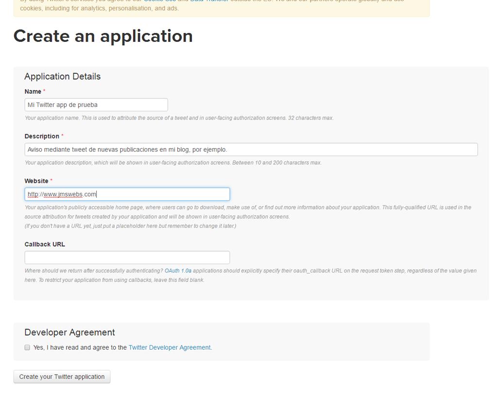 Formulario de creación de la twiiter app
