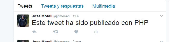 Resultado de publicar un tweet con php
